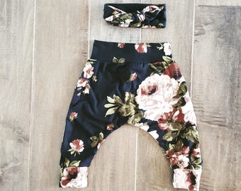 Black and White Floral Harem Pant and Headband Set