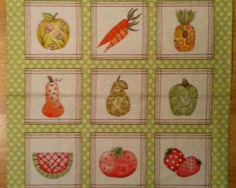 A Beautiful Fruitful Hand With Strawberries and Cherries Fruit Fabric Panel Free US Shipping