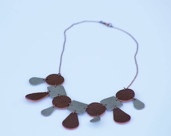 Leather necklace / fashion statement / statement jewelry / leather jewelry / unique handmade jewelry / modern jewelry