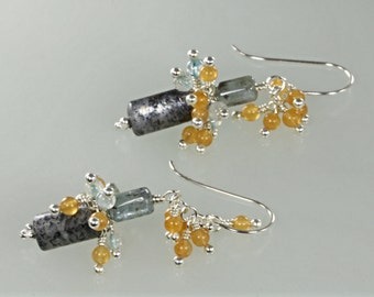 28% off Deep Blue Kyanite, Blue Topaz, and Peach Aventurine Dangle Earrings, Mixed Gemstone Earrings