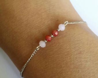 Bracelet in red and white Crystal beads chain bracelet beads bracelet stainless steel chain and crystal.