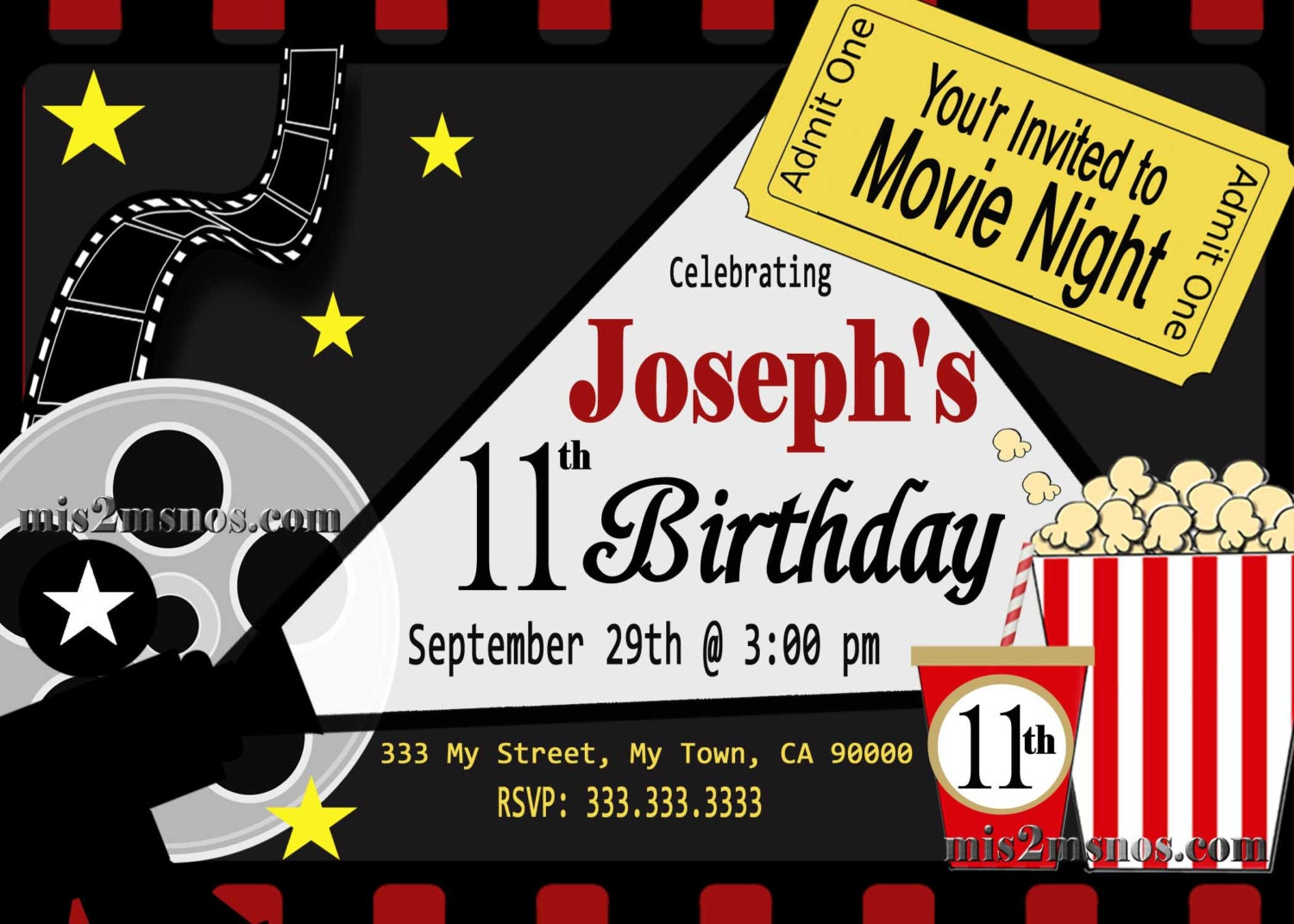 Movie Ticket Red Carpet Party Invitation Printable Invitation