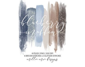 INSTANT DOWNLOAD - Blueberry Muffin Brush Strokes -  Blue - Brown - Glitter