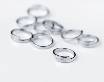 5 Pcs Wrap Ring Stamping Blanks Silver Finish Rings Wholesale Jewelry Discount Affordable Bulk Silver Plated Ring Supply - 5PRWB-S