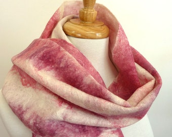 Pink and White Wool Scarf - Fringed Nuno Felt Scarf - Striped Pink Scarf