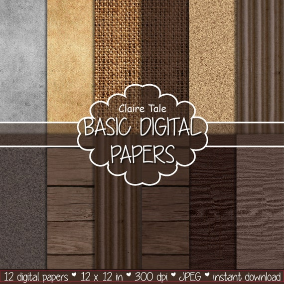 WOOD, BURLAP, LINEN digital paper: pattern pack with wood, linen, burlap, cork, antique paper and corrugated cardboard in brown shades