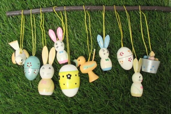 Easter Ornaments Pastel Easter Eggs Bunnies Chicks German