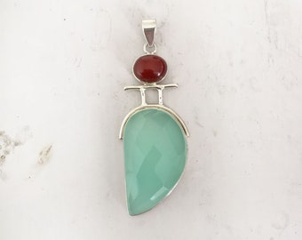 Aqua Chalcedony Pendant, Chalcedony Necklace, handcrafted chalcedony necklace, 925 sterling silver chalcedony necklace, Handmade Jewelry