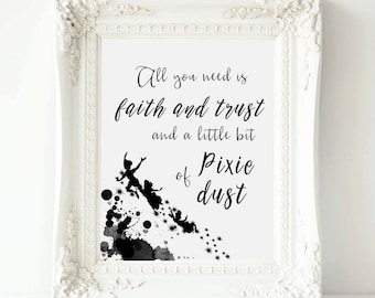 Peter Pan Nursery, Play Room Decor Neverland quote print , All you need faith and trust Peter Pan , Nursery printable Peter Pan Gift Art