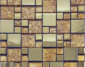 Clear Crystal Tile Square Mosaic Plated Craft Design Kitchen Backsplash Magic Pattern Glass Tiles Line Wall Cheap