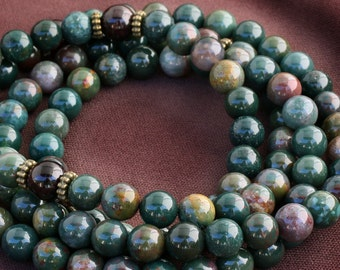 Bloodstone Mala Prayer Beads with Garnet Meditation Mala - Strength, Courage, Manifestation