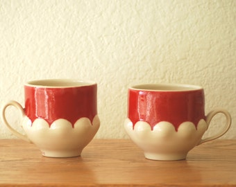 scallop cups, in red