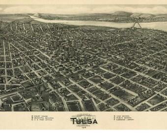 Tulsa - 1918 Birds Eye View Oklahoma - Reprint