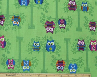 Sitting Pretty Owls Fabric Green From Springs Creative