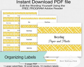 Yellow Pantry Labels | Organizing Labels | Editable Labels | Tags | Editable PDF | Instant Download