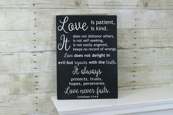 Wedding Reading Love Is Patient: Love Is Patient Love Is Kind Sign 1 Corinthians 13:4-8