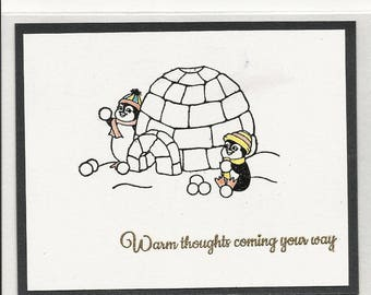 Snowball Fight Post Card