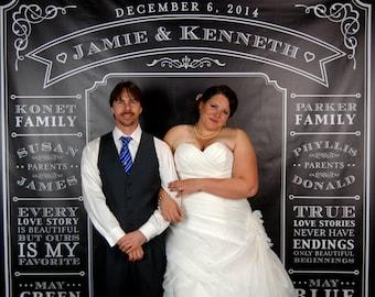 Personalized Photo Booth Backdrop - Wedding Reception Photo Booth Backdrop Rustic Cottage Chic Chalkboard 8 x 8 ft. Vinyl Photo Backdrop