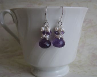 Silver Amethyst Earrings with Pearl and Gemstone Cluster