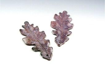 Enameled Medium Oak Leaf  / Napa Enamel / Made to order