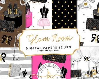 Glam Room Digital Paper Set, Beauty, Makeup, Pretty, Pink, Glamour Clipart, Planner Stickers, Papers,