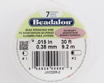 Silver Rose Beadalon 7 Strand Bead Stringing Wire .015 30ft #99-015306