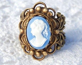 Cornflower Blue Victorian Style Antiqued Brass Ring- Morning Glory Designs