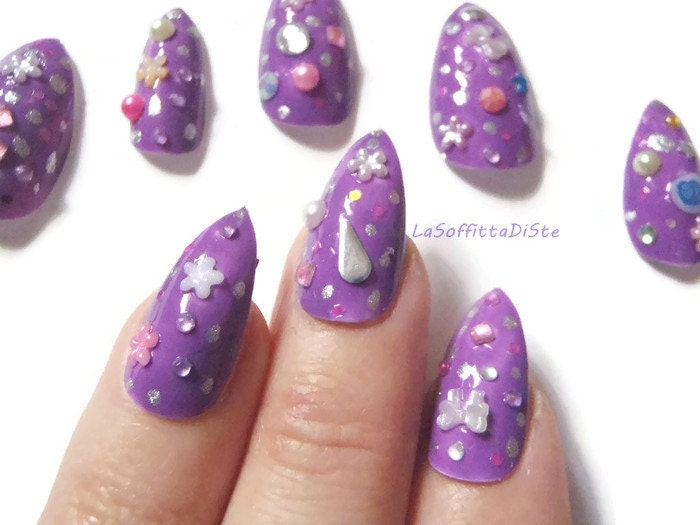 purple false nails lavander 3d stiletto fake nails japan style fake ...