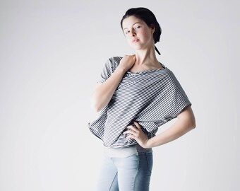 Oversized top, Striped top, Jersey top, Loose Tshirt, Lounge top, Comfy top, Plus size, Maternity clothes, Womens clothes, Off shoulder top