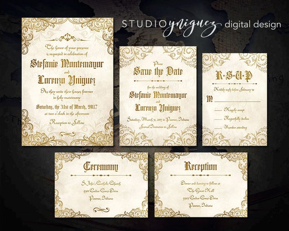 Medieval Wedding Invitation Wording: Gold And Ivory Medieval Wedding Printable Invitation Suite