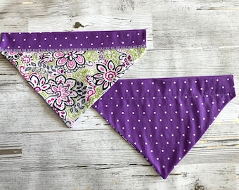 Purple Floral Over Collar Dog Bandana, Girly Polka Dot Pet Scarf, Reversible