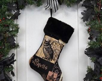 Nevermore Gothic Owl Christmas Stocking, Black Faux Fur, Halloween Decoration, Black Brown Patchwork Print, Black Canvas Liner