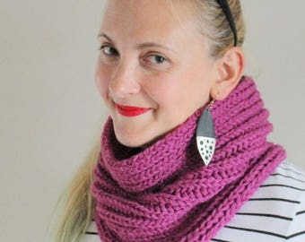 Pink Scarf - Pink Snood - Knitted Pink Scarf - Womens Scarf