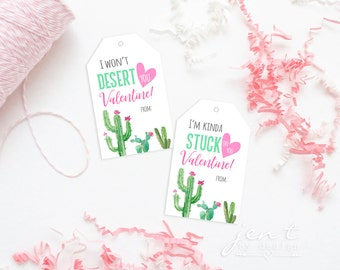 Printable Valentine Tags for Kids - Cactus Valentine