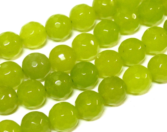 10 BEADS - Faceted lime green color dyed jade faceted gemstone beads 10 mm -  GM252L