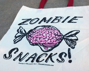 Zombie Snacks Brain Candy Tote Bag...Trick or Treat Bag