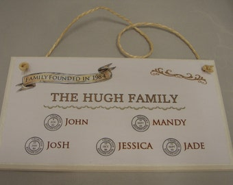 Personalised Family Tree Plaque, Family Gift, Plaque with date and place of birth of each family member