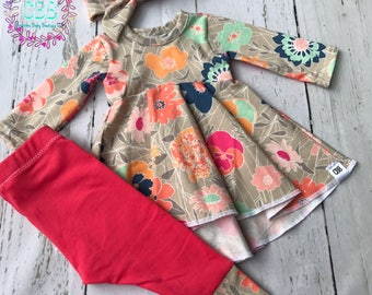 Baby girl clothes , baby dress top , Baby girl dress top , leggings and headband  , baby girl fall outfit newborn to 4t size