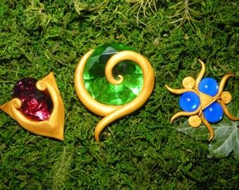 Legend of Zelda - The Spiritual Stones - Lifesize Set - Goron Ruby, Kokiri Emerald, Zora Sapphire