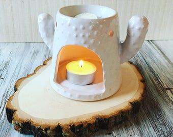 White Ceramic Cactus Wax Oil Burner