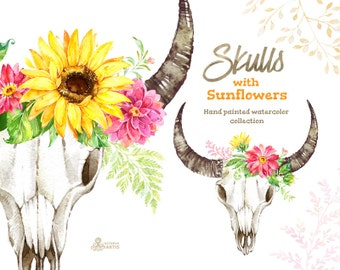 Skulls with sunflowers. Watercolor clipart, sunflowers, sunbeams, wedding, greeting card, diy, country, flowers, sunny, rustic, boho, horns