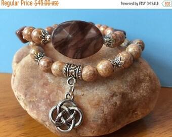 Mothers Day Sale Gemstone Bracelet Set, Celtic Knot Charm Bracelet, Beaded Bracelet Set, Stretch Bracelet Set, Stacking Bracelet Set, Jewelr