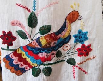 Cotton Gauze Embroidered dress, Ecuadorian Bird dress, White cotton dress Yarn Embroidery dress, Eyelet Lace Shoulders and Neckline dress,