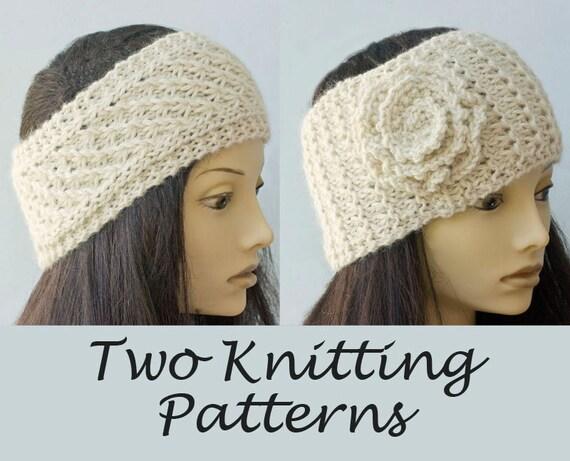 Two Knitting Patterns Knit Ear Warmer Patterns Lace Headband Pdf