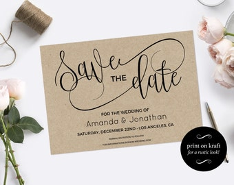 Save the Date Template - Save the Date Printable - Kraft save the date - Rustic save the date - Downloadable wedding #WDH301_3