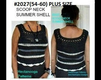 CROCHET PATTERN, tank top Pattern, sleeveless shell sweater,  Women's clothing,  Plus size clothing, crochet for women, #2027-54-60
