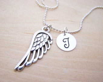 Angel Wing Charm - Personalized Necklace - Custom Initial Necklace - Silver Necklace - Initial Jewelry - Monogram Necklace - Gift for Her