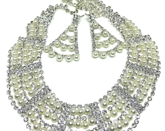 Crystal Rhinestone Pearls Necklace Drop Earrings Jewelry Set Wedding Bridal Party,Bridesmaid Statement Accessories
