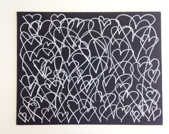"""10x8"""" One-Of-A-Kind Heart Paintings - Horizontal Single Color"""