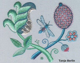 Embroidery Kit: Dragonfly Intermediate Surface Hand Embroidery Kit